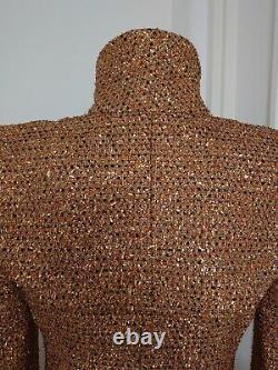 100%AUTH CHANEL 19A PARIS NY EGYPT MÉTIERS DART LESAGE JACKET FR36 Gold RARE