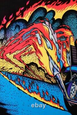 1978 Vintage Blacklight Poster Chopper Flames Bike Rare Flocked Aa Sales