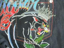 Christian Audigier Mens 31X34 Ed Hardy Embroidered Panther Art Premium Jeans New