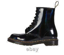 Dr. Martens 1460 RAINBOW Black Patent Lace Up Boots RARE FIND