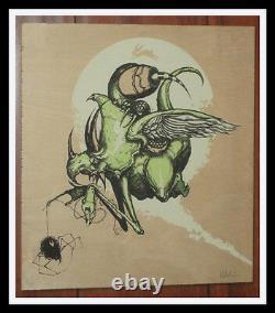 GREG SIMKINS DINOLA SDCC 2010 PRINT ON WOOD ART S/N #1/50 RARE Dinosaur & Spider