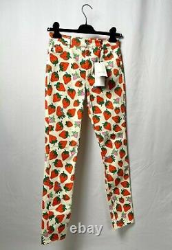 Gucci Strawberry Print Pants Trousers Women's Size 28 Rare Designer Luxury