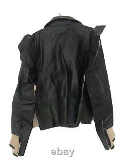 Maison Martin Margiela H&m Rare Black Leather Biker Jacket Uk 16 Eu 42 Us 12 New