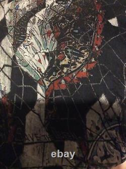 New Save The Queen Long Black Print Maxi Dress Gown Rare Unusual Designer Silk L
