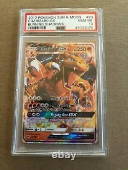 PSA 10 Gem Mint Charizard GX Full Art Ultra Rare 20/147 Burning Shadows Pokemon