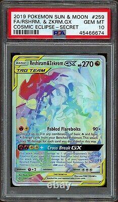 PSA 10 Gem Mint Full Art Hyper Rare Reshiram & Zekrom GX-Cosmic Eclipse 259/236