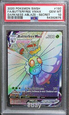 PSA 10 Pokemon 2020 Darkness Ablaze Full Art Secret Rare Butterfree VMAX 190/189