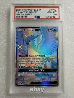 Pokemon Articuno GX SV54 Full Art Ultra Rare Hidden Fates PSA 10 Gem Mint