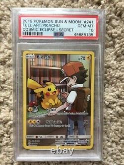 Pokemon Holo PSA 10 Pikachu 241/236 Cosmic Eclipse Full Art Secret Rare