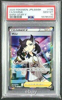 Pokémon Japanese Sword & Shield Shiny Star V Full Art Marnie 198/190 PSA 10 GEM