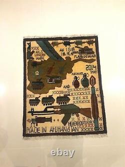 RARE GENUINE AFGHAN WAR RUG & Wall Hanging Hand knotted Wool Unique Tribal Art