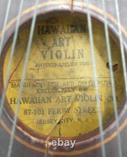 RARE Vintage 1924 Wooden 32 String Hawaiian Art Violin Ukelin Co New Jersey