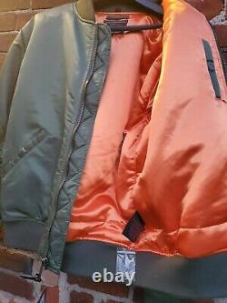 Schott NYC Rare style 9628 MA-1 Nylon USA-Flight Jacket Sage Size Large New-TAGS