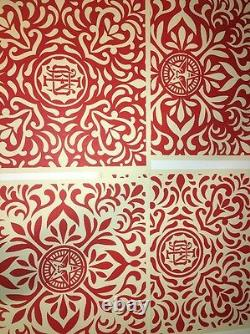 Shepard Fairey Japanese Fabric Patten Set Rare Signed Numbered OBEY Print Poster
