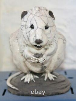 Studio Art Pottery Raku Rare Water Vole Signed by Potter Sculptor Brian Andrew