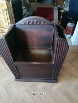 Superb 30's Rare Art Deco Oak Hall Chair With Storage. MUST SEE