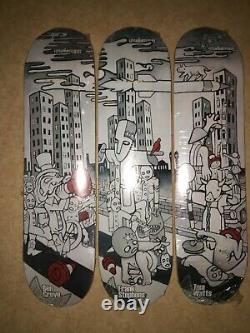 Triplicate Unabomber Browning art skateboard decks, rare set