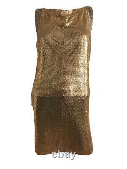 Versace H&m Rare Gold Chain Party Mini Slip Shift Dress Uk 8 Eu 34 Xs Bnwt