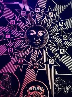 Vintage Nos Rare Zodiac Star Velvet Blacklight Poster Early 1970s Astrology