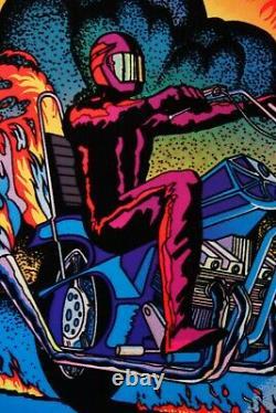 1978 Vieille Affiche De Lumière Noire Chopper Flames Vélo Rare Flocked Aa Ventes