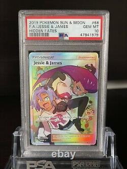 2019 Jessie & James Full Art Rare Sm Hidden Fates Pokémon #68 Psa 10 Gem