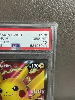 2020 Pokemon VIVID Voltage 170/185 Full Art Pikachu V Ultra Rare Psa 10 Gem Mint