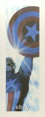 Alex Ross Rare Superman & Captain America Set Papier Giclee Signé Nouveau Encadré