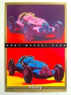 Andy Warhol Estate Rare 1988 Lithographie Imprimer Affiche D'exposition Guggenheim Cars