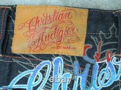 Christian Audigier Hommes 31x34 Ed Hardy Brodé Panthère Art Premium Jeans Nouveau