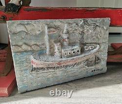 David Bromley Original Painting'steam Boat' Rare Prototype 1/1 2009