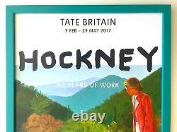 David Hockney Lithographie Rare Imprimer Tate Musée Encadré Pop Art Exhbtn Poster