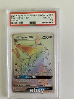 Espeon Gx Psa10 Secret Rainbow Rare Full Art 152/149 Pokemon Sun & Lune