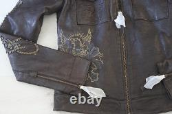 Femmes Rare Ed Hardy Leather Jacket Love Kills Slowly Xs-2xl
