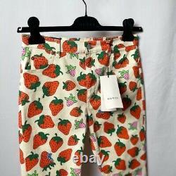 Gucci Strawberry Imprimer Pantalons Pantalons Taille Femme 28 Rare Designer Luxe