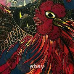 Jean Paul Gaultier Mesh Top Rare Rooster Tropical Bird Print $900 Taille M Nouveau