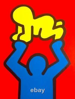 Keith Haring Estate Rare 1991 Lithographie Imprimer Poster Poster Man & Bébé 1988