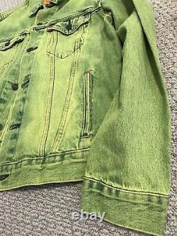 Levi's Rare Neon Lime Green Denim Acid Wash Trucker Veste Homme Sz Medium M T.n.-o.