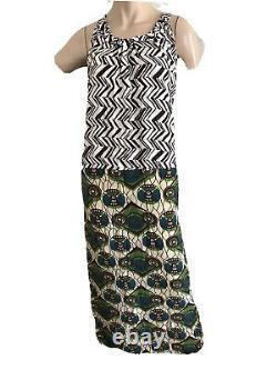 Marni Pour H&m Rare Retro 60's Boho Ethnic Silk Maxi Robe Uk 14 Eu 40 Medium Nouveau