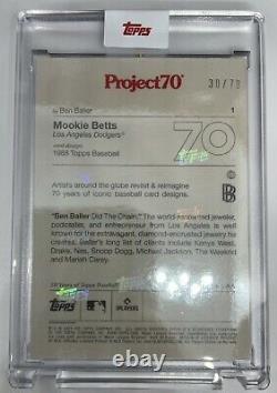 Mookie Betts 2021 Topps Project 70 #1 Ben Baller Art Rainbow Foil Sp 30/70 Rare