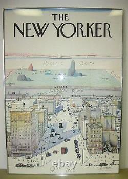 New Yorker Saul Steinberg 1976 Affiche D'art Originale Encadrée D'une Rare Affiche De New York