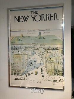 New Yorker Saul Steinberg 1976 Imprimé Original Avec Cadre Affiche Rare (40x28)