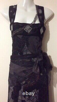 Nouveau Sauvegarder La Reine Long Noir Imprimé Maxi Robe Gown Rare Designer Inusuel Silk L