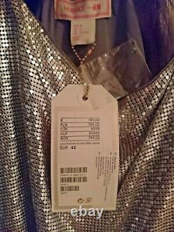 Nouveau Versace H&m Uk/14 Eu/42 Silver Chain Designer Slip Shift Dress