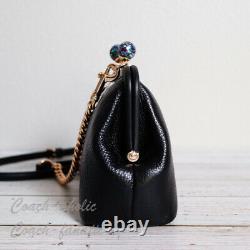 Nwt Coach C1451 Nora Kisslock Leather Crossbody In Black Rare