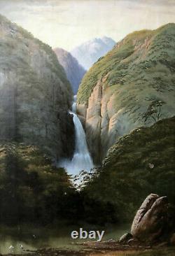 Oil Painting 1880 Rare New Zeland Landscape Illegible Devil' Punchbowl