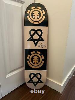 Old Rare Bam Margera Heartagram Signé Autographed Element Skateboard Deck