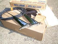 Original Nos Silver Meteor Dual Auto Antenna Vintage Chevy Ford Jalopy Vw