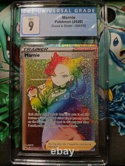 Pokemon Marnie 208/202 Full Art Rainbow Rare Cgc 9 Mint Psa Bgs