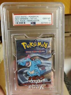 Pokemon Neo Genesis Pack 1ère Édition Psa 10 Gem Mint Feraligatr Artwork