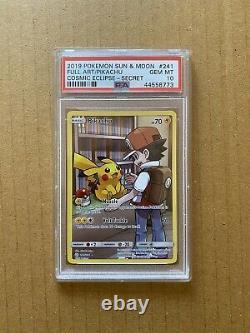 Pokemon Psa 10 Gem Mint Pikachu 241/236 Cosmic Eclipse Full Art Secret Rare Holo